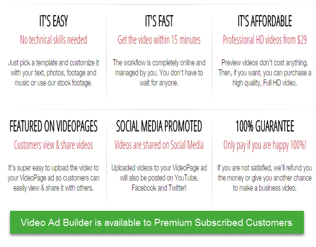 VideoPages Video Ad Builder - It's Easy - It's Fast - It's Affordable - We Host The Video - 100% Guarantee!