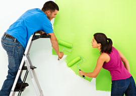 ... we are painting the wall green. Good job!