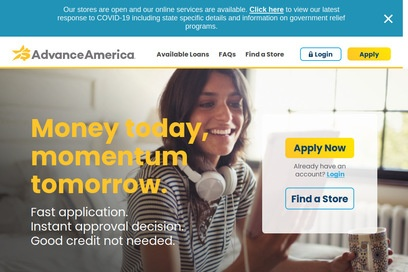 website of Advance America for Loans and Mortgages