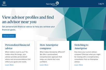 website of Ameriprise Financial for Banks and Credit Unions