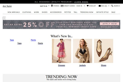 website of Ann Taylor for Clothing and Accessories