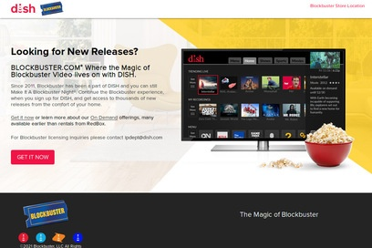 website of Blockbuster Video for Video Rentals and Sales