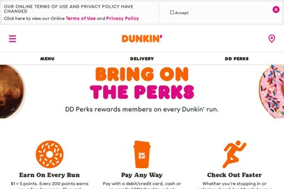 website of Dunkin Donuts for Bagel and Donut Shops
