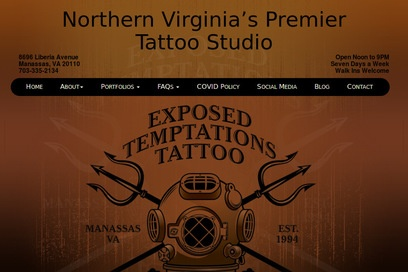 website of Exposed Temptations Tattoo for Body Piercing and Tattoos