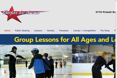 website of Fairfax Ice Arena for Sporting Goods