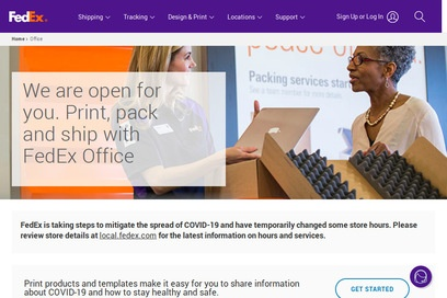 website of Fedex Office Print and Ship Center for Business Consultants