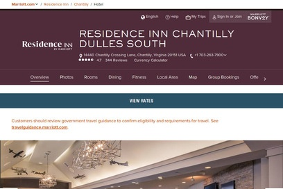 website of Residence Inn Chantilly Dulles South for Hotels Motels and Lodging