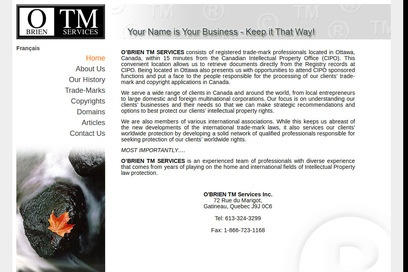 website of OBrien TM Services for Trademark and Copyright Service
