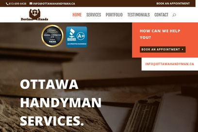 website of Devine Hands for Home Repair