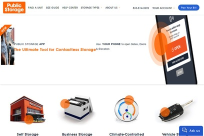 website of Public Storage for Cargo and Freight Services