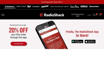 website of Radio Shack for Telecommunications Equipment and Services