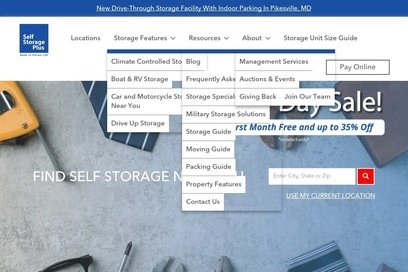 website of Self Storage Plus for Cargo and Freight Services